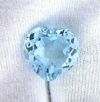 17mm Heart Natural Brazilian Sky Blue Topaz Gem Stone Gemstone EBS2050