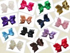 """14 BLESSING Happy Girl Boutique Hair Accessories Ruffle Ribbon 4"""" ABC Bow Clip"""