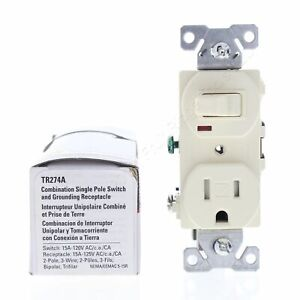 Cooper Almond Tamper Resistant Pilot Light Switch Outlet Receptacle 15A TR274A