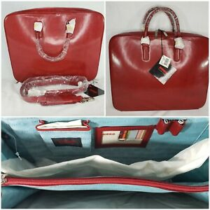 HOBO International Crossbody Attache Red Leather Briefcase NWT Lavoro Zip Close