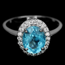 GENUINE AAA SWISS BLUE TOPAZ OVAL & WHITE CZ STERLING 925 SILVER RING SIZE 6.25