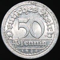 1920 J | Germany 50 Pfennig | Aluminium | Coins | KM Coins