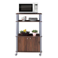 3-Tier Trolley Microwave Oven Stand W/ Rolling Cart Kitchen House Use  Walnut
