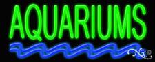 """NEW """"AQUARIUMS"""" 32x13x3 W/DOUBLE WAVY LINES NEON SIGN w/CUSTOM OPTIONS 10206"""