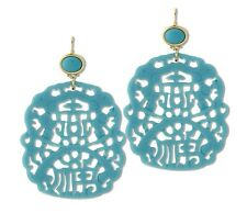 Kenneth Jay Lane Turquoise Blue Colored Carved Resin Drop Earrings