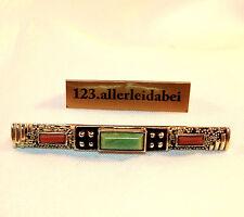 alte Emaille Brosche mit Koralle & Amazonit 830 er Silber Emaile / BA 737
