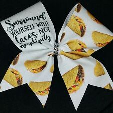 Cheer Bow - Surround Yourself With Tacos  - Glitter - Hair Bows
