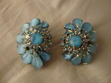 Vintage Estate Jewelry Large Big Blue Givre Glass Rhinestone Earrings Clip On