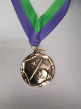 silver Baseball medal with wide blue/green neck drape large size