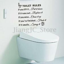 Removable Toilet Rules Quote Wall Sticker Vinyl Art Decal Bathroom Decoration