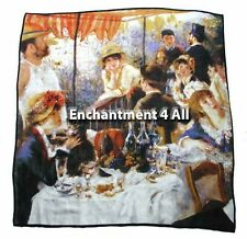 """Large 100% Pure Silk Art Scarf Wrap 35""""x35"""" Renoir's """"Luncheon Of Boating Party"""""""