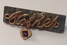 Vintage WWII Sweetheart Pin MOTHER w/ Heart 1940s TWISTED WIRE Homefront Jewelry