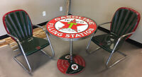 TEXACO LOLLIPOP TABLE SIGN WITH CHAIRS - VERY RARE