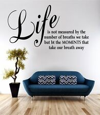 Life Is Measured Wall Art Sticker Quote Decal Vinyl Transfer Home Bedroom