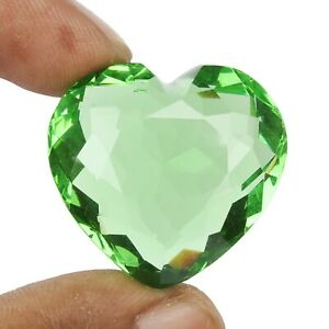 Heart Shape Green Amethyst 91.00 Ct. 31 mm Loose Green Amethyst Gemstone FE-871
