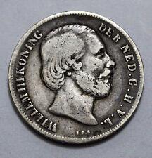 SCARCE 1856 1 Gulden WILLEM III KONING DER NEDERLANDEN G.H.V.L.KM#93 SILVER COIN