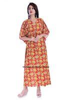 Indian Blumenmuster Baumwolle Lang Bikini Kleidung Neu Kaftan Boho Maxi Kleid