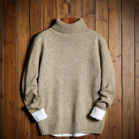 2018 Winter Mens Woolen Slim Turtle Neck Long Sleeve Vneck Knitted Sweater Tops