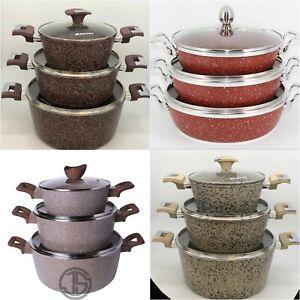 Non Stick Die Cast Cookware 6 Piece Saucepans Marble Pots Set Glass Lids Granite