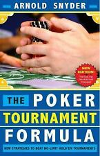 THE POKER TOURNAMENT FORMULA - SNYDER, ARNOLD - NEW PAPERBACK BOOK
