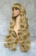 X-Long Blonde Wavy Full Bang, Center Part, Full Synthetic Wig Wigs - 3264