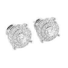 Mens Prong Set Earrings Round Cut Simulated Diamonds Rhodium Tone Screw Back