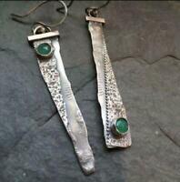 Thai 925 Silver Emerald Handmade Hook Asymmetry Dangle Earrings Jewelry Gift
