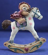 """Teddy Bear On Rocking Horse Collectible Display 3-1/2"""""""