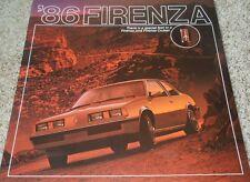 1986 Oldsmobile Firenza GT LX LC S & Firenza Cruiser Sales Brochure