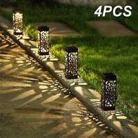 Solar 4 pcsPowered Garden Post Lights Waterproof LED Outdoor Patio Yard Lawn UK
