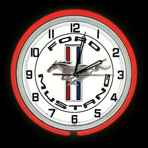 """19"""" Ford Mustang Logo Sign Red Double Neon Clock Shelby GT 5.0"""