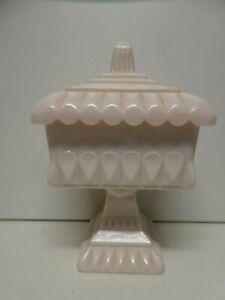 VINTAGE PRESSED PINK MILK GLASS COMPORT BOWL ART DECO TRINKET DISH