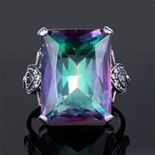 4.3CT Mystic Rainbow Topaz 925 Silver Engagement Jewelry Wedding Ring Size 6-10