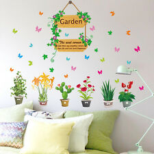 Flowers Pot Plants Butterfly Wall Stickers Home Garden Decor Vinyl Decal Mural