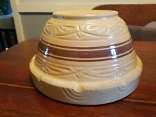 """Robinson Ransbottom Pottery  Large 10"""" Yellow Ware Brown Band Mixing Bowl MINT"""