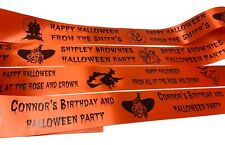 Personalised Halloween ribbon 45mm min. order only 1 metre multi images orange