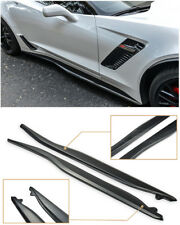 Z06 Style ABS Plastic PRIMER BLACK Side Skirt Extension For 14-19 Corvette C7