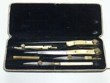 Antica CASSETTA compassi, compassi posate prima 1900 in stato Fund 6 pezzi Nº 2