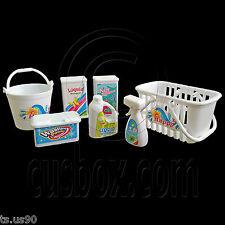 """Set Washing Room Basket Powder Detergent Softener 1:6 Scale for Barbie 12"""" Dolls"""