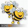 2 x BEE STICKERS Happy Bumble Bee Vinyl Decal Window Bumper Fun Sticker