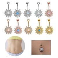Rhinestone Flower Body Piercing Navel Jewelry Belly Button Rings Fire Opal