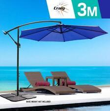 Navy Blue Outdoor Umbrella CRAIG 3m w/Base Patio Cantilever Garden Deck Steel