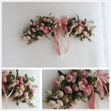 Artificial Pink Peonies Flower Garland Home Garden Lintel Wedding Decor Wreath