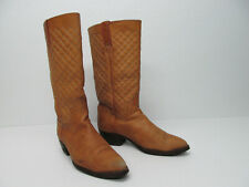 Rare Loblan Tan Quilted Leather Cowboy Boots Size Women's Eu 39 Us 8.5-9