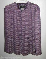 CHANEL 01P Purple Diamond design Skirt Jacket Suit Dbl C Buttons Sz 40 US 6 - 8