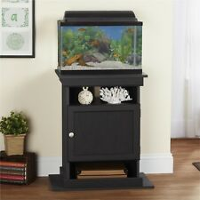 Wooden Aquarium Stand For 10 / 20 Gallon Fish Tank With Accessory Cabinet Black