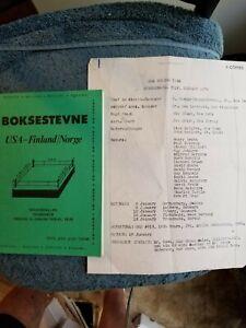 1978 ORIGINAL DAVEY MOORE USA-FINLAND-NORWAY BOXING PROGRAM TRAVEL ITINERARY