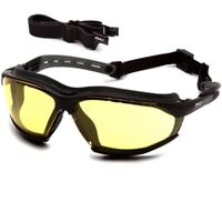Pyramex Isotope Safety Glasses/Goggles Black Frame Amber Anti-Fog Lens