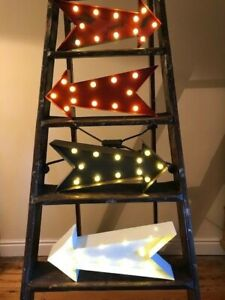 LED Metal Industrial Salvage Style Arrow Sign - 4 options