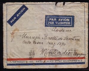 BELGIUM 1932 CIE. GENERALE AEROPOSTALE AIR MAIL COVER TO URUGUAY